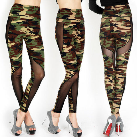 Womens Sexy Mesh Camouflage Cutout Camo Fit Leggings
