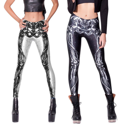 Womens Trendy Bone Skeleton Design Leggings
