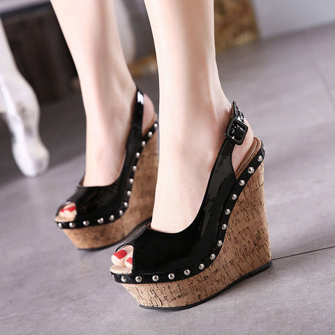 Womens Hot Black Peep Toe Slingback Wedge Platforms