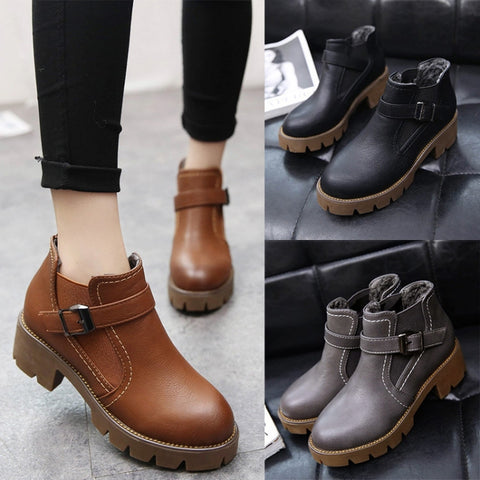Womens Stylish Ankle Strap Platform Boots