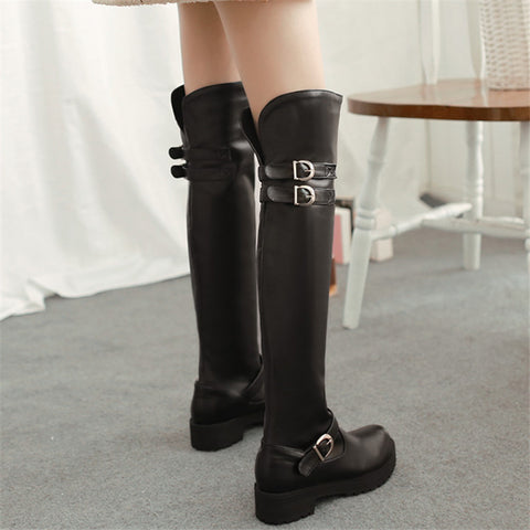 Womens Stylish Knee High Buckle Casual Boots