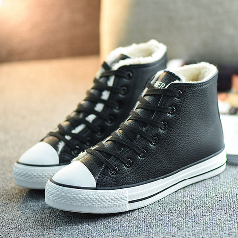 Womens Fur Lined High-Top Sneakers