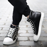 Mens Edgy Studded High-Top Sneakers
