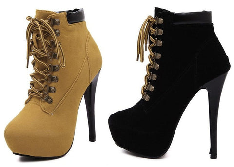Womens Trendy Boot Style Platform High Heels