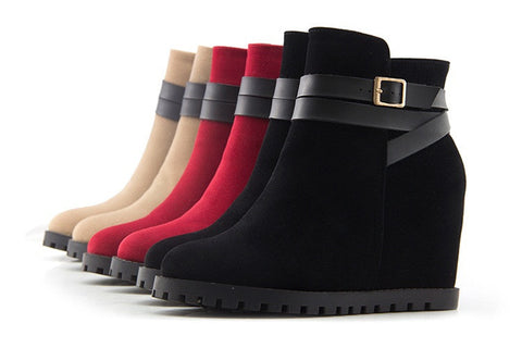 Womens Lovely Ankle Strap Wedge Heel Casual Boots