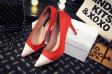 Womens Stylish Two Tone Close Toe Heels