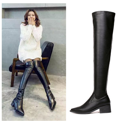 Trendy Black Over Knee Leather Boots