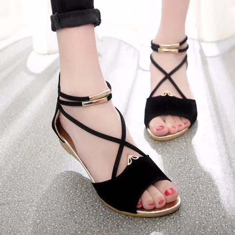 215a6b755982 Trendy Open Toe Cross Strap Wedges – Womens Fashion Factory