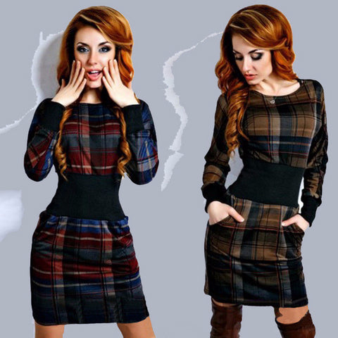 Trendy Plaid Slim Hip Casual Mini Dress