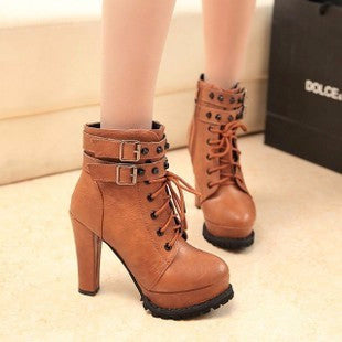Trendy Platform Double Strap Ankle Heel Boots