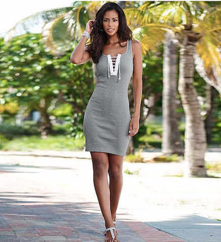 Trendy Sleeveless Tie Slim Hip Casual Dress