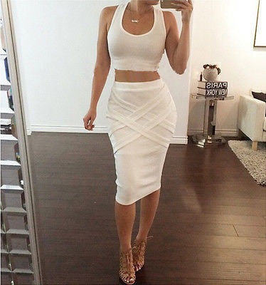 Trendy Bodycon Crop Top Two-Piece Dress
