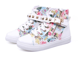 Womens Edgy Urban High-Top Canvas Sneakers