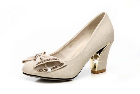 Womens Elegant Bow Office Heels