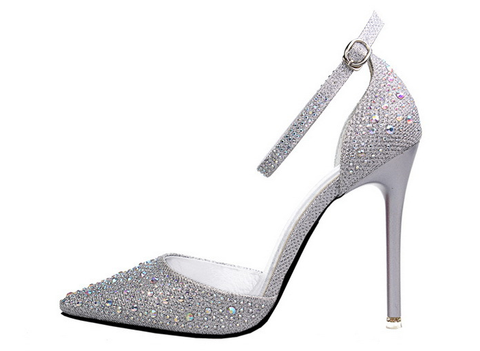 Womens Beautiful Ankle Strap Rhinestone High Heels