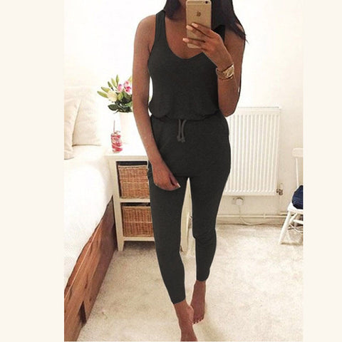 Womens Casual Summer Fashion Sexy Vest Sleeveless Slim Waist Overalls Jumpsuit