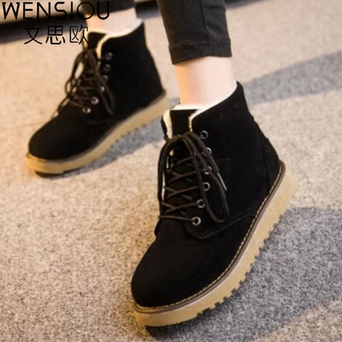 Womens Warm Winter Comfortable Lace Up Caual Boots