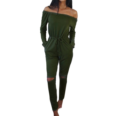 Womens Fashion Off Shoulder Sexy Jumpsuit Ladies Clubwear Playsuit