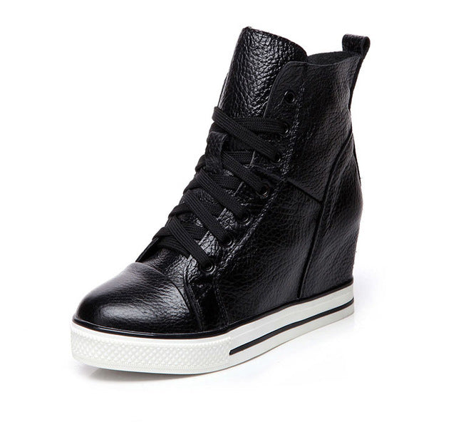 9042d1c3f6c Womens Super High Heels Height Increased Wedges Shoes Lace Up Women Pumps  Genuine Leather Platform Shoes