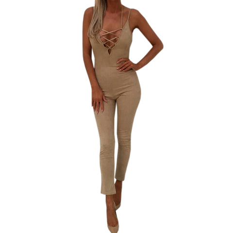 Womens Spaghetti Strap Lace-up Sexy Backless Jumpsuit Hollow Out Solid Zipper Casual Overalls