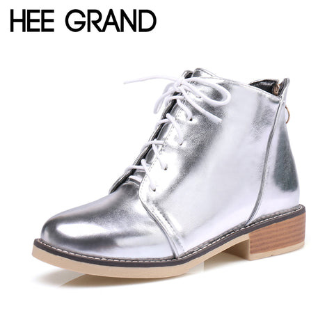 Womens Silver Gold Lace up Ankle Platform Shoes Boots