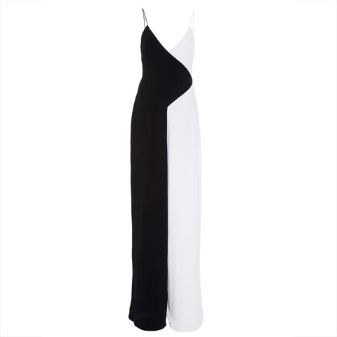 Womens Black Straight  Full Length Color Block Hollow Summer Fashion Casual Jumpsuit