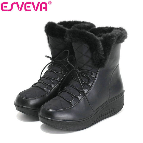 Womens Casual Winter Warm Fur Lace Up Snow Wedges Heel Platform Ankle Boots