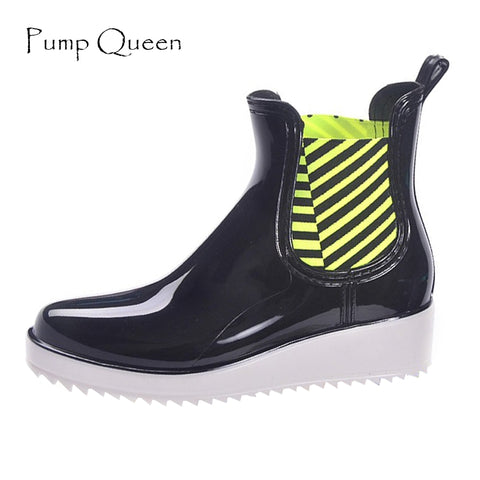 Womens Rain Casual Walking Outdoor Hunting Waterproof Rubber Low Heel Shoes Ankle Rainboots