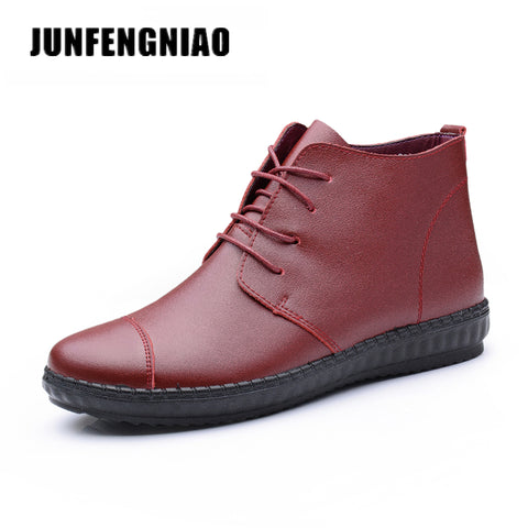 Womens Oxford Shoes Female Lace Up Genuine Leather Rubber Sole Casual Boots