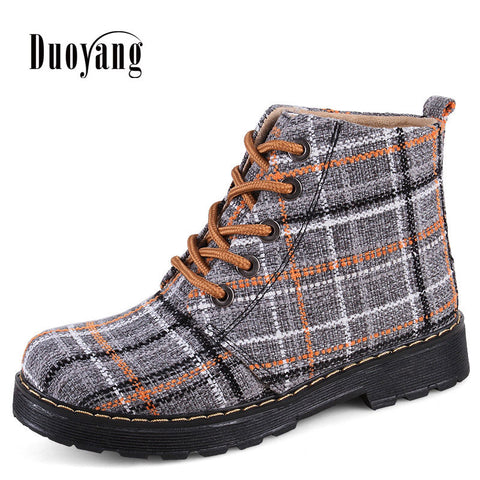 Womens Winter Fashion Casual Shoes Lattice Cotton Ladies Ankle Boots