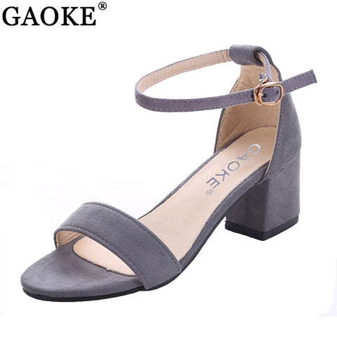 Womens Sexy Pumps Suede Open Toe Ankle Strap Heels