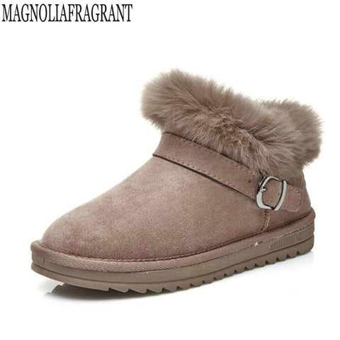 Womens Cute Fur Casual Winter Ankle Strap Waterproof Boots