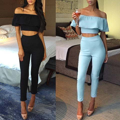 Womens Playsuit New Fashion 2 Piece Crop Top Jumpsuit