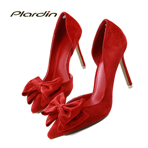 Womens Sweet Bowtie Pointed Toe Fashion Party Wedding Shallow Mouth Side Hollow High Heel Shoes
