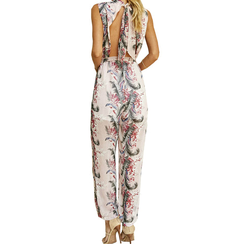 Womens Boho Summer Floral Printed Rompers Sleeveless Sexy Backless Halter Chiffon Jumpsuit Wide Leg Pants