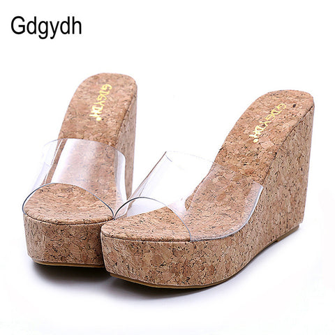 aab603525759 Womens New Transparent Platform Wedges Sandals Fashion High Heels ...