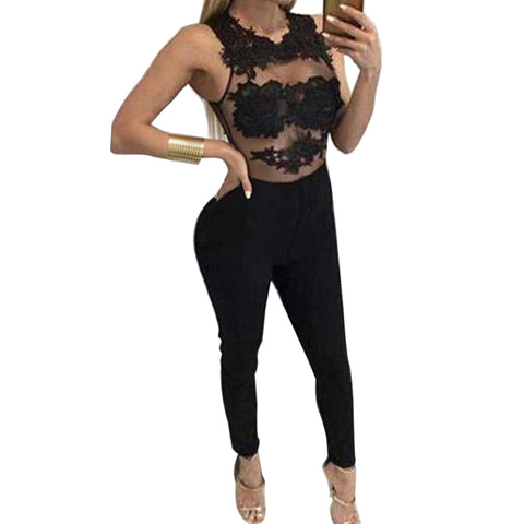 Womens Sexy Autumn Lace Embroidery Elegant Long Jumpsuit Transparent Mesh Sleeve Playsuit