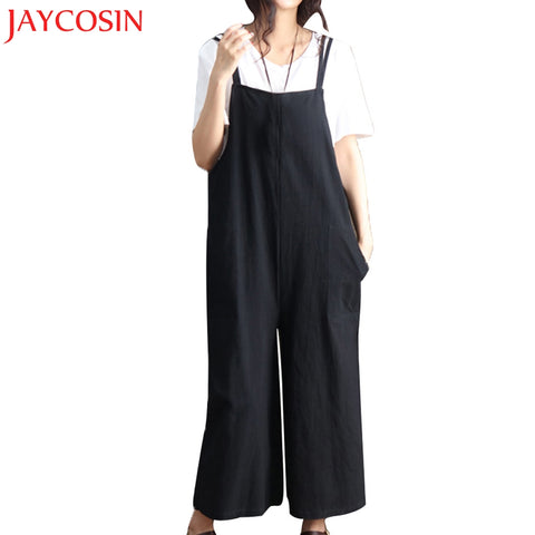 Womens Wonderful Loose Jumpsuit Strap Wide Leg Casual Overall Pants