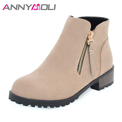Womens Winter Platform Zip Round Toe Shoes Fur Ankle Boots