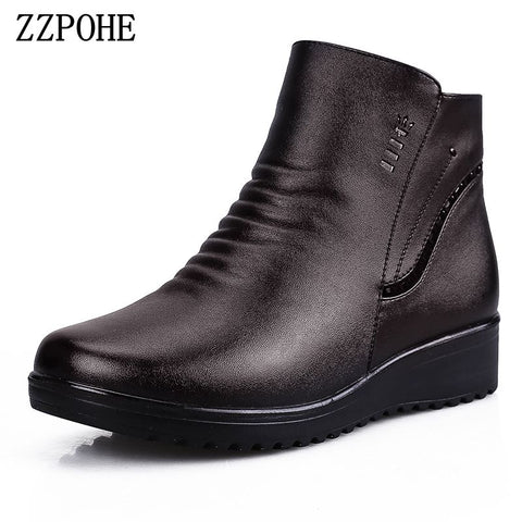 Womens Fashion Genuine Leather Ankle Boots