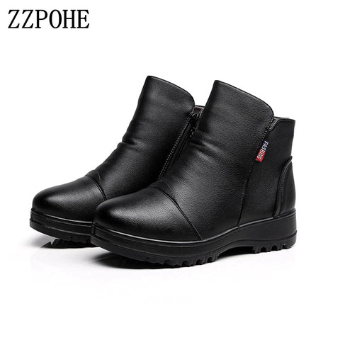 Womens Fashion Winter Shoes Genuine Leather Snow Boots
