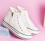 Womens Classic Zipper High-Top Sneakers