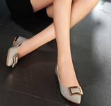Womens Classy Buckle Work Flats