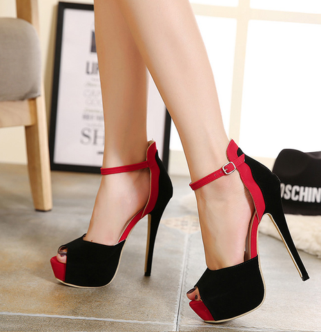 Womens Stylish Peep Toe Ankle Strap Stiletto High Heels