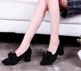 Womens Cute Close Toe Bow Work Heels