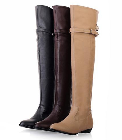 Womens Lovely Knee High Riding Strap City Boots