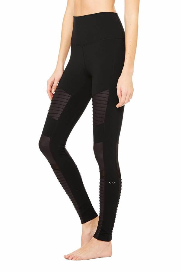 SEA YOGI High Waist Moto legging by Alo, Yoga Shop in Palma de Mallorca, black, side