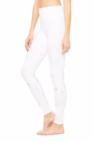 SEA YOGI High Waist Moto legging by Alo, Yoga Shop in Palma de Mallorca, White side