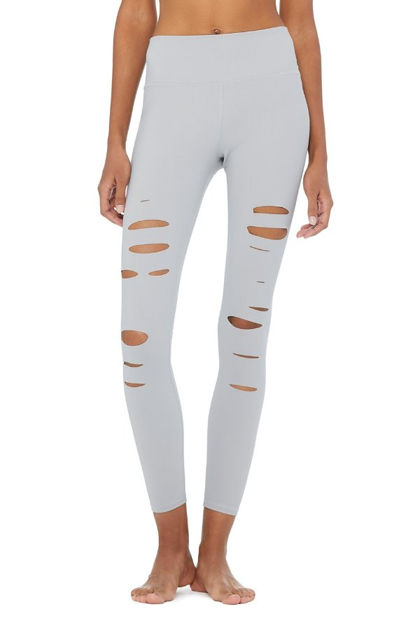 SEA YOGI // Alo High ripped warrior legging, alloy, front