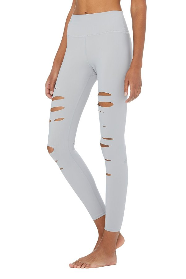 SEA YOGI // Alo High ripped warrior legging, alloy, left